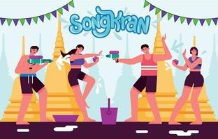 People Celebrating Songkran Festival vector