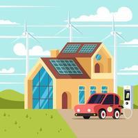 hogar con diseño de tecnología verde. vector