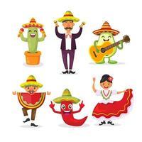 Cinco De Mayo Character Collection vector