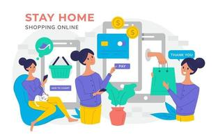 Stay Home Shop Online vector