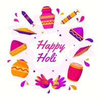 Holi Festival Icon Set vector