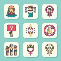 conjunto de iconos del día de la mujer