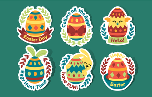 Easter Sticker Collection in Flat Style vector
