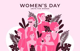concepto de diversidad monocromática del día de la mujer en rosa vector