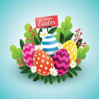 Realistic Easter Eggs Combined with Leaves and Flowers vector