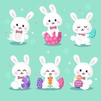 Cute Easter Bunny Character Set vector