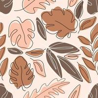 One Line Art Botanical Seamless Pattern vector