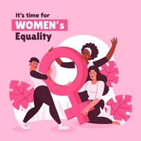 Women's Equality Concept in Pink Color vector
