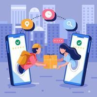 El hombre entregó productos a la mujer a través de un teléfono inteligente móvil. vector