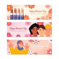 Women's Day Diversity Banner Set vector