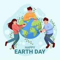 concepto de feliz día de la tierra vector