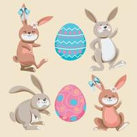 Set of Hand Drawn Funny Easter Bunny Collection vector