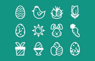 Easter Icon Collection in Line Style vector