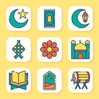 conjunto de iconos de eid mubarak vector