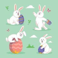 Easter Rabbit Character Set vector