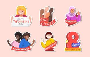 Women's Day  Sticker Collection vector