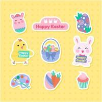 Easter Bunny Sticker Collection vector