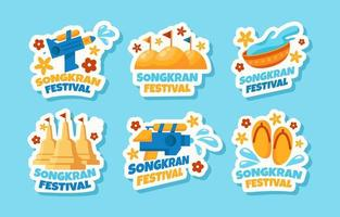 Flat Songkran Water Festival Stickers vector