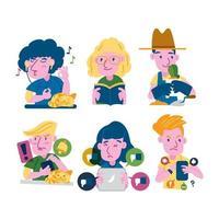 Fomo Vs Jomo Sticker Set Concept vector