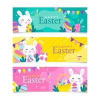 Happy Easter Bunny Banner Set vector