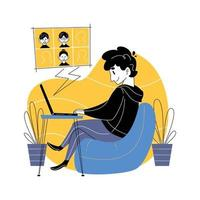 Working at Home Concept vector