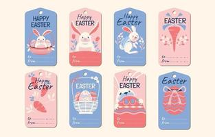 Set of Easter Label Design with Cute Bunny vector