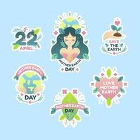 Cute Earth Day Collection Sticker vector