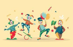 colección de personajes de payaso en color de esquema retro vector
