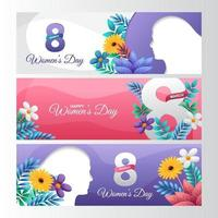 Women Day Banner Collection vector