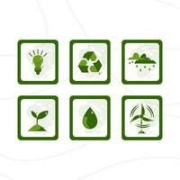 Earth Day Icon with Green Color vector