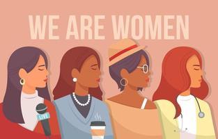 cuatro tipos diferentes de mujeres hermosas vector