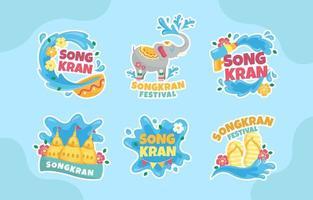 Songkran Fun Water Splashing Festival vector