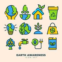 Earth Awareness Icon Set vector