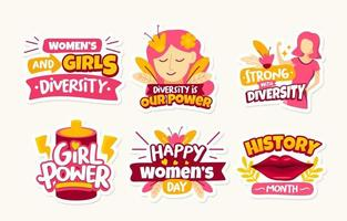 Womens Day Diversity Sticker Collection vector
