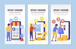 Stay Home Contact Less Concept Banner