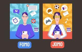Fomo Jomo Activity Comparison vector