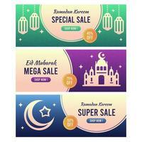 Eid mubarak sale banner collections vector
