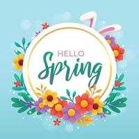 Hello Spring Greeting Template With Floral Background vector