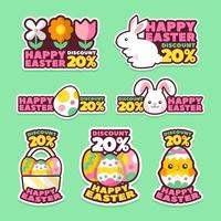 Happy Easter Stickers Set vector
