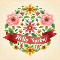 Colourful and Beautiful Spring Floral Concept with Red Ribbon vector