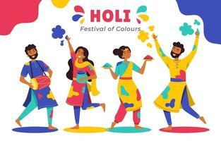 People Celebrating Holi Festival vector