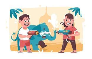 Tow Happy Kids Celebrating Thailand Songkran Festival vector