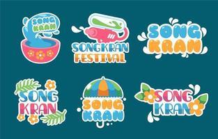 Colorful Songkran Festival Sticker Collection vector
