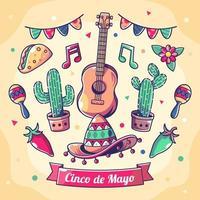 Atribute of Cinco de mayo festival concept vector