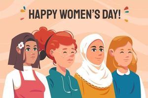 Ilustración del día de la mujer con varias etnias y colores. vector