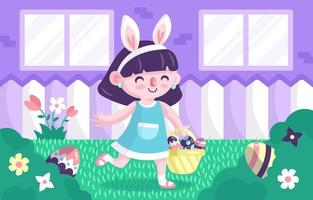 Little Girl Playing at Finding Easter Eggs in the Garden vector