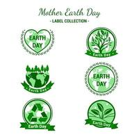Set of Label Design Representing Earth Day vector