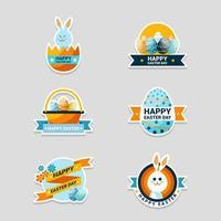 Easter Day Festivity Sticker Set vector