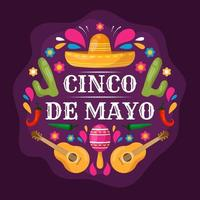 Flat Colorful Cinco De Mayo Festivity vector
