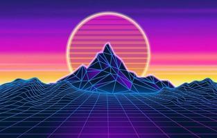 Abstract Retro Futuristic Background vector